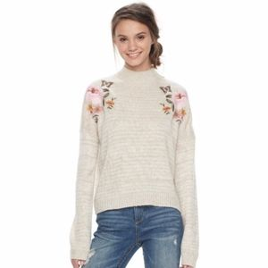 Juniors Cloud Chaser Embroidered Mockneck Sweater